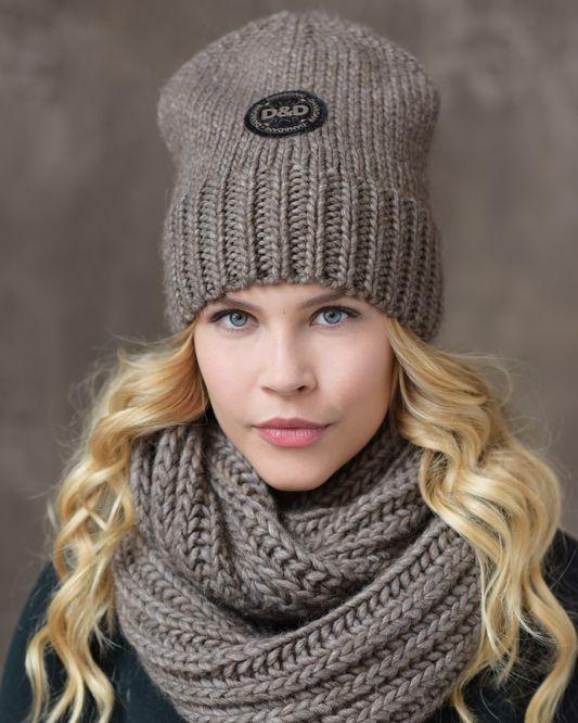 Женские комплект -шапка и снуд фото