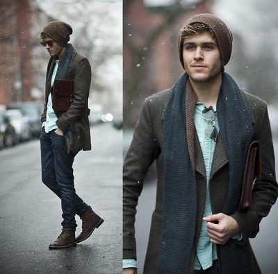 Модные мужские вязаные шапки фото