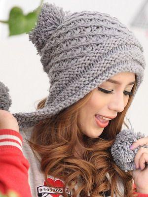 Женские вязаные шапки с ушками фото