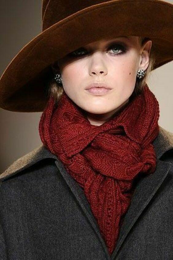Как завязать шарф под шляпу фото
