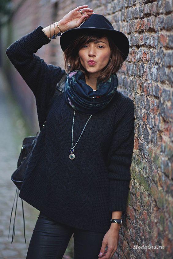 Шляпа и шарф как сочетать фото